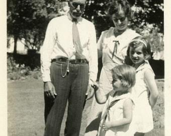 "Vintage Photo ""She Spotted the White Rabbit"" Snapshot Antique Photo Old Black & White Photograph Found Paper Ephemera Vernacular - 135"