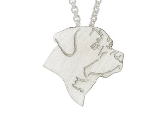 Rottweiler necklace, Rottweiler charm, Rottweiler jewelry - Sterling silver dog necklace, dog charm pet memorial gift