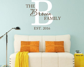 Personalized Family Name Vinyl Wall Decal Family Name Initial Monogram Vinyl Lettering Wall Words Living Room Home Decor
