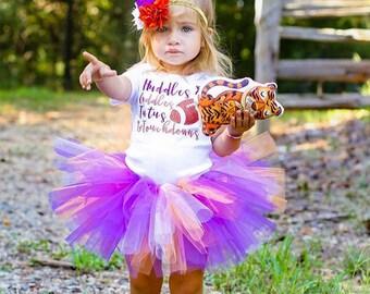 Clemson Tigers Baby Tutu and Flower Headband Set in Orange and Purple, Clemson Baby Tutu, Clemson Baby Outfit, Clemson Tigers Baby, Tutu