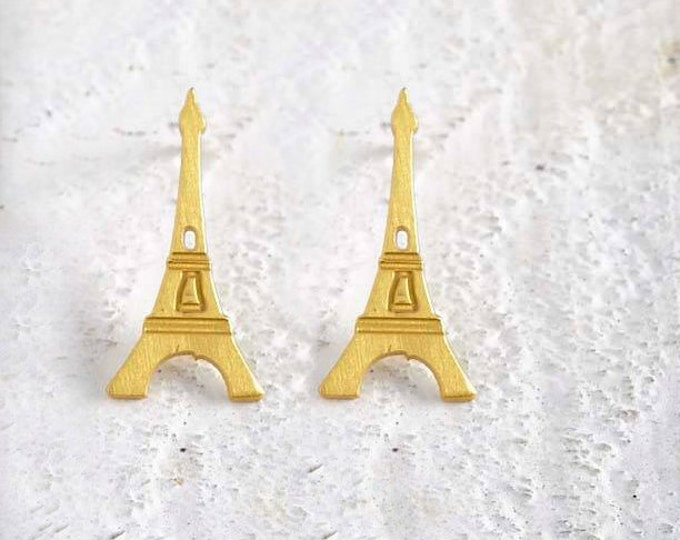 Eiffel Tower Gold plated bronze Earrings silver earrings famous Architectural Buildings Stud Earrings European Capitals Paris travel world