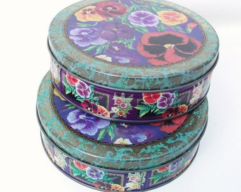 Vintage Tins, Cookie Tins, Floral Canisters, Pansy Flower, Metal Tins, Set of 2 - Metal Boxes