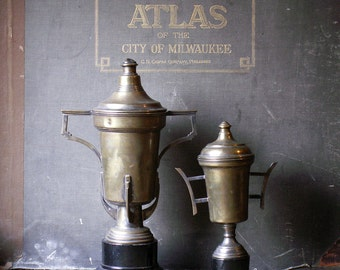 Vintage Brass Covered Chalice Art Deco Style Trophies - Pan American Games, 1961