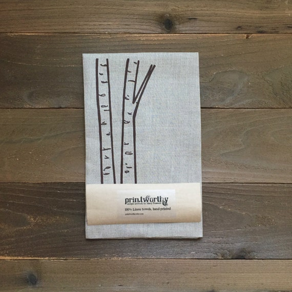 Tea Towel, Linen Dish Towel, Birch Tree Trunk Design, Screen Printed Kitchen Towel