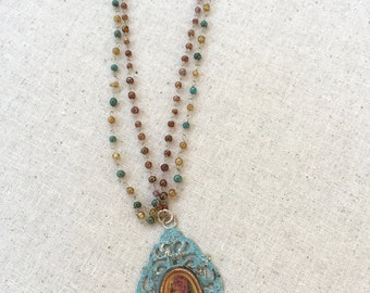 Boho style necklance,turquoise enamel pendant,feligree pendant,beaded rosary chain,leather cord adjustable necklace,real rose resin necklace