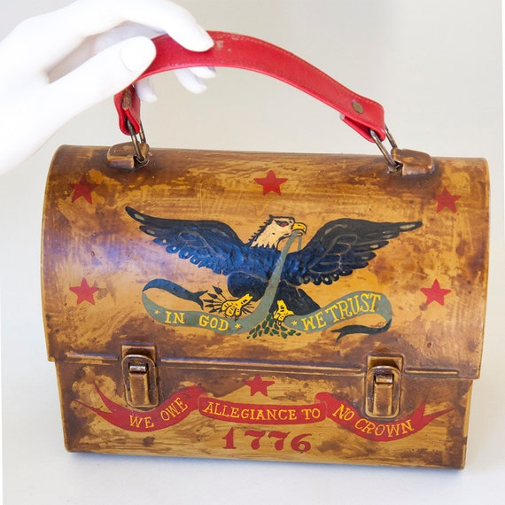 Americana folk art lunchbox handbag dorothy biddle hand