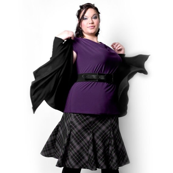 Plus size Vest / Waterfall cardigan - Black - So Warm and Cozy - Perfect fall knit in Sizes xl - 1x - 2x - 3x