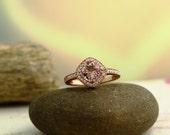 Morganite Diamond Ring  In 14K Rose Gold engagement Ring  antique Style  Halo Ring 7mm  ****Gem877