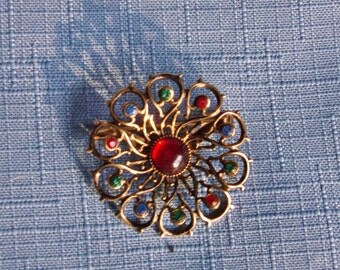 Brooch Pin Round Multicolor Rainbow Rhinestones Vintage Wedding Jewelry Jewellery Bridal Sash Victorian Edwardian Revival Gift Guide Women