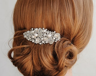 Swarovski Pearl Bridal Hair Comb, Crystal Wedding Hair Comb, Rose Flower Hair Clip, Bridal Hairpiece, Vintage Style Hair Jewelry, ROSA
