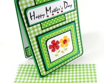 Green Gingham- Mother's Day Card with Matching Embellished Envelope
