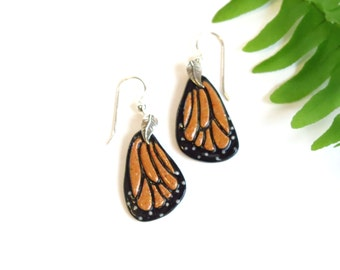 Porcelain Monarch Butterfly Earrings / Ceramic Monarch Jewelry / Wing Earrings / Artisan Made Monarch Butterfly Lover Gift / Summer Jewelry
