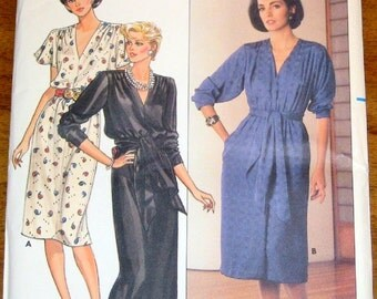 Butterick 6755 Maxi Gown, Sash, Pullover Dress, Women's Misses Vintage 1980s Sewing Pattern Size 14 16 18 Bust 36 38 40 Uncut Factory Folds