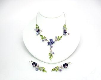 Rhinestone Metallic Enamel Flower Necklace & Dangle Earrings.  Aurora Borealis, Pink, Lavender Purple. Leaves, Garland. Vintage Jewelry Set.