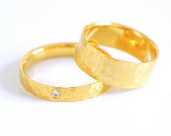 Hammered matching wedding band set in solid 14k gold certified fairmined with Ethically mined diamond-Wedding rings eco friendly-Fair love