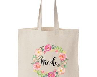 Personalized Floral Tote Bag / Name Tote / Bohemian / Hawaii