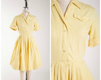 1950s Vintage Dress • Bright Eyed Morning • Yellow Cotton Vintage 50s Shirtwaist Dress Size Small
