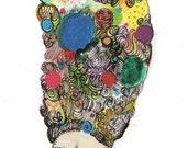 Fabulous Pouf - Potpourri Series - Mexican Inspired - Flowers Color illustration Art Print