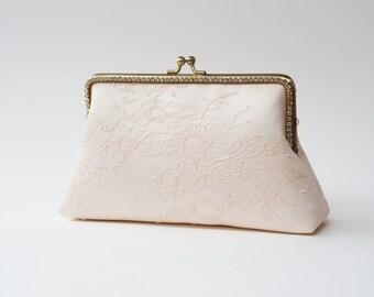 Blush-Ivory Bridal Clutch / Bridesmaid Clutch Purse / Personalized Clutch / Wedding Lace Clutch
