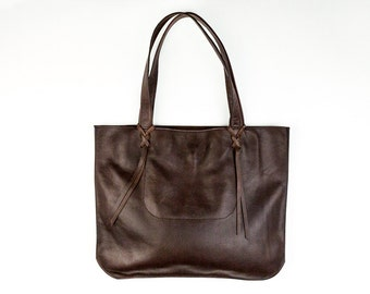 GRETEL Brown Leather Tote. Brown Leather Bag. Dark Brown Leather Shoulder Bag
