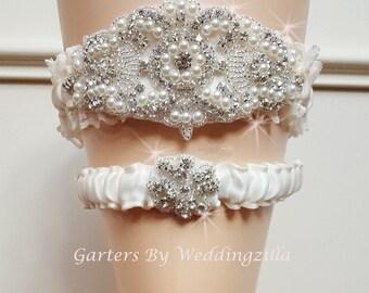 Wedding Garter Set, Rhinestone Garter, Ivory Lace Garter,  Ivory Bridal Garter Set, Wedding Garter Belt, Pearl Garter Set, Crystal Garter
