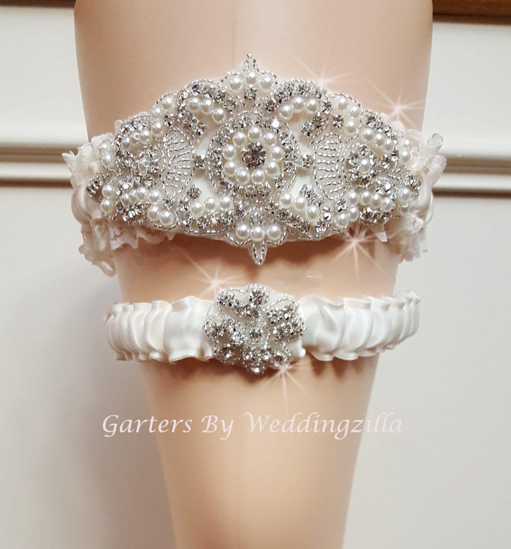 Wedding Garter Set Rhinestone Garter Ivory Lace Garter