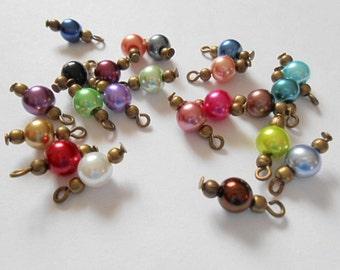 Multi- Colored Glass Pearl Dangle Beads