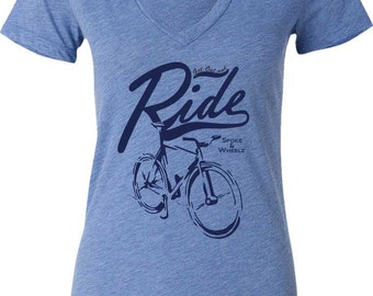 Women's Bicycle T-shirt-Ladies Bicycle T-shirt-V-neck-GET OUT and RIDE-Bike gift for her, road bike tee, cycling tshirt,mother's day gift