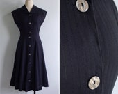 Vintage 90's Does 40's Black Cotton Woven Pinstripe Day Dress XS or S