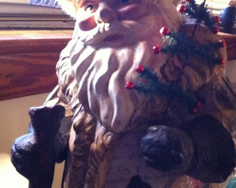 Father Christmas, 1970's Craftwork, Decoupage, 21 Inches Tall