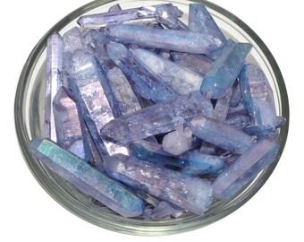 2 TANZANITE AURA Quartz Rough Quartz Small Raw Point Jewelry Violet Flame Healing Crystal and ...