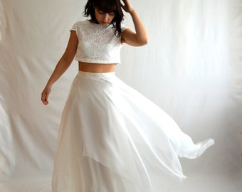 Crop top wedding dress, boho wedding dress, bohemian wedding dress, Hippie wedding dress, Bridal separates,Bridal gown, Two piece crop top