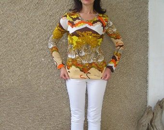 Vintage 70s Africa print blouse, size S-M