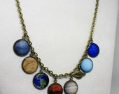 Brass and Resin Charms Solar System Necklace, Planet Necklace