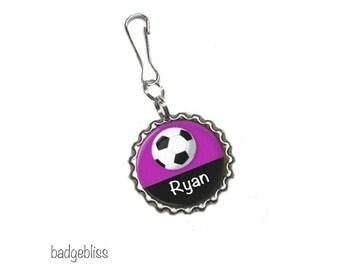 Personalised bottlecap zipper pull, bag charm - Football, Soccer zip pull.