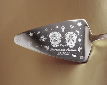 "DAY of the DEAD ""Dia de los Muertos"" Engraved Polished Stainless Steel Cake Server and/or Knife"