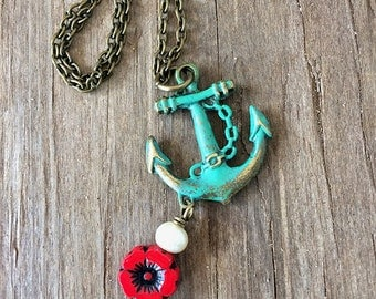 Out to Sea Necklace / Patina Anchor Pearl Pansy Necklace / Anchor Necklace