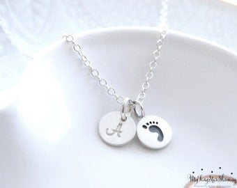 Mothers necklace New mom Baby necklace Footprint charm necklace Sterling Silver Baby Foot print Necklace Footprint Jewelry Initial Necklace