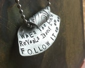 When the Path Reveals itself Follow it Hand made hand Stamped Metal Jewelry Pendant Charm Ornament free spirit Gypsy Soul Sister