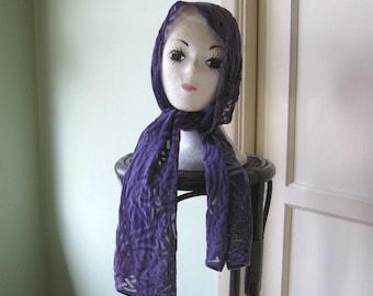 Purple Vintage Burnout Scarf~Purple Celtic Knot Pattern Scarf~Dark Purple Bohemian/Gypsy Scarf/Head Wrap; Free Shipping/U.S.