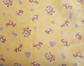 Cute rabbit fabric in yellow, printed by YUWA, made in Japan, Easter fabric, floral fabric, retro rabbit fabric, fat quarter