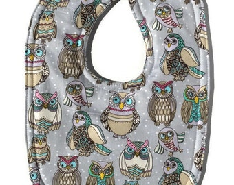 Owl Bib - Handmade Baby Bibs - Boy Bib - Girl Bibs - Dribble Bib - Toddler Bibs - Baby Shower Gifts - Drool Bibs - Cotton Bibs - Bird bib -