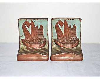 Pompeian Bronze Ship Amoy Bookends, Pair 1920s