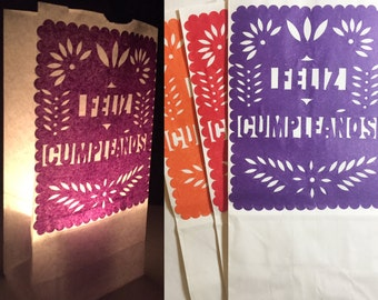 10 Luminaries Papel Picado Wedding/Fiesta Gift Bags or Personalized Tissue Paper Bags