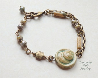 Ceramic Shell Bracelet, Antiqued Brass Beaded Bracelet: Jasper, Sea Green and Sand Color Shell, Pale Blue Czech Glass Beads, Brass Box Chain
