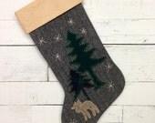 Personalized Christmas Stocking,Rustic Christmas Stocking, Family Christmas Stocking,Rustic Cabin Stocking, Moose Stocking,Mantle Decoration