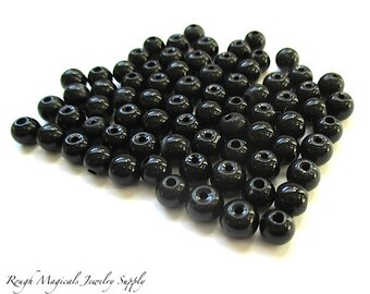 Jet Black Beads, 8mm Glass Beads, Round & Off Round Ball Beads, DIY Jewelry Making Supplies, Craft Beads - 30 Pieces   SP690