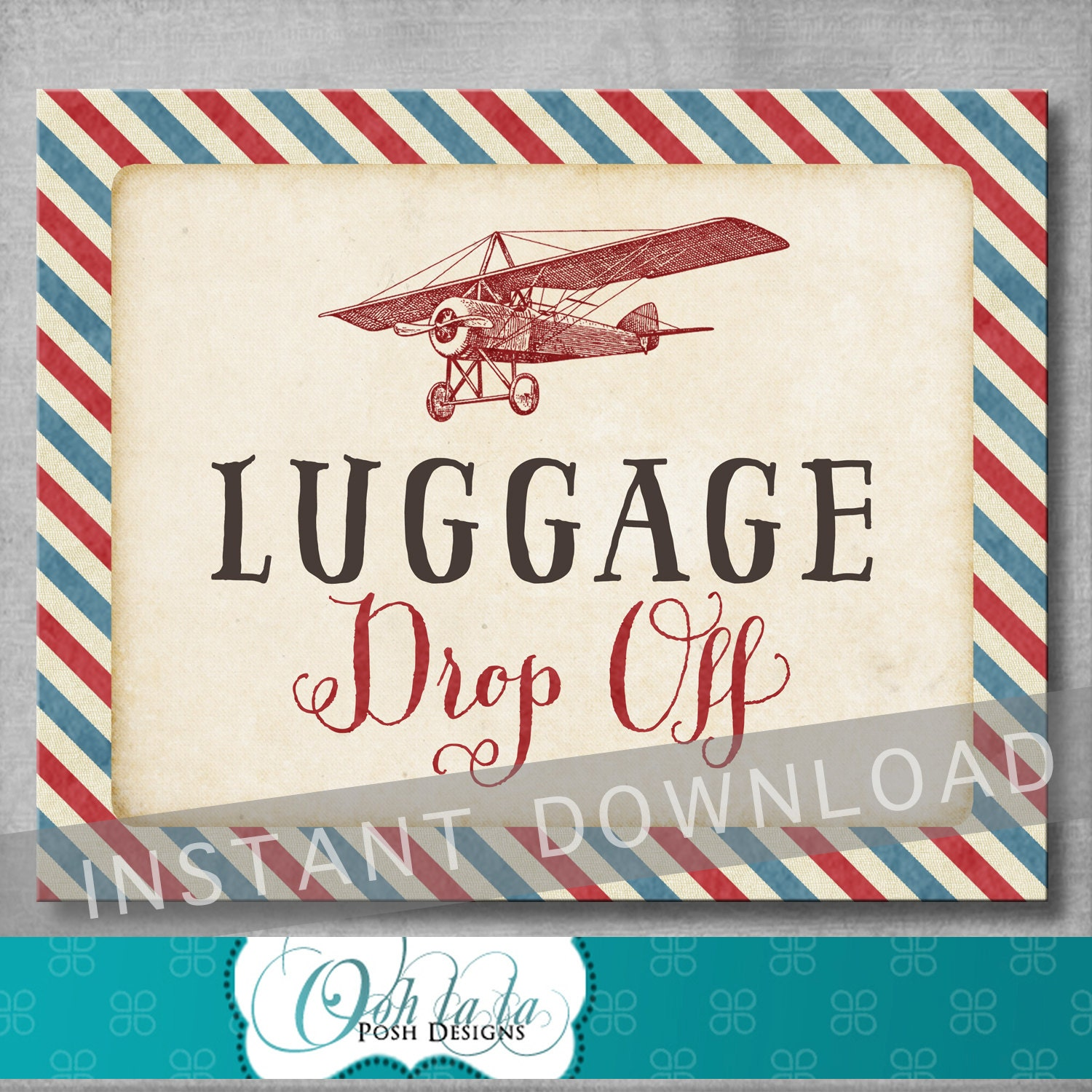 Luggage Drop f Sign 8x10 inches Vintage Airplane Baby