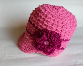 Crochet Flower Textured Newsboy Hat, Crochet Hat, Pink Flower Hat, Toddler Winter Accessory (CH-015/Bubblegum and Sparkle Fuchsia/1-3 Years)