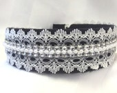 Pearl Lace Headband, Handmade Hair Accessory,Vintage Inspired, Pearl Headband, Black White Hair Accessory, Hair Band, Womens Accessories